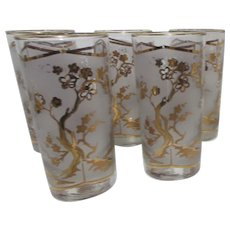 Set of 5 Water Glasses with Asian pattern in Gold and Frosted Glass