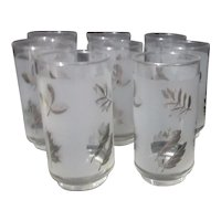 Set of 8 Libbey Silver Leaf Highball Glasses