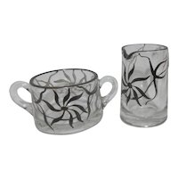 Elegant Clear Glass Cream and Sugar Set with Sterling Silver Overlay