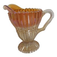 Marigold Carnival Glass Footed Creamer with Applied Handle