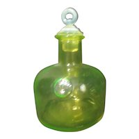 Uranium Green Glass Jar with Wheat Logo and Glass Lid