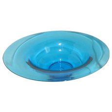 Large Blown Glass Blue Bowl