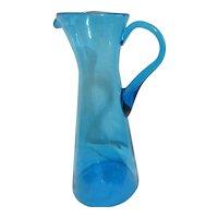 Tall Blue Blown Glass Pitcher