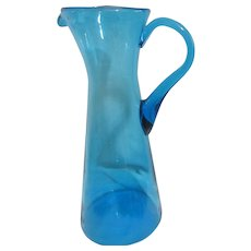 Tall Blue Blown Glass Pitcher