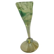 Art Glass Uranium Glass Florescent Blown Wine Glass