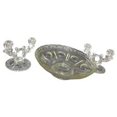 Clear Glass Fruit/Console Bowl with Matching Double Candle Holders