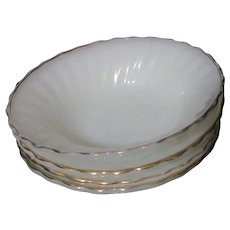 Set of 4 Anchor Hocking Fire King Golden Shell Cereal Bowls