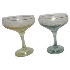 Pair of Elegant Champagne Goblets with Gold band and Etched Garlands