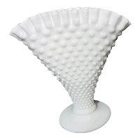 Fenton Fan Shaped Milk Glass Hobnail Vase
