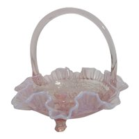 Pink Glass Basket with White Ruffled Edges and Windmill Embossed on Bottom