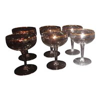 Set of 7 Champagne Goblets/Sherbet  with Gold Trim