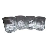 Set of 4 Whiskey/Old Fashioned Glasses with Woodland Animals White Decoration