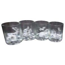 Set of 4 Whiskey/Old Fashioned Glasses with Woodland Animals White Decoration