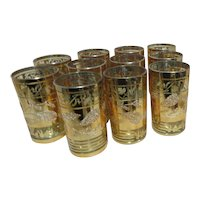 Set of 11 Gold Frosted Drinking Glasses Unused