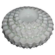 Fenton 3 Piece Stackable Milkglass Hobnail Ashtrays