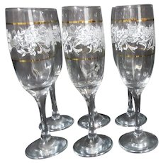 Set of 6 Champagne Goblets with Gold Trim and White Floral Pattern