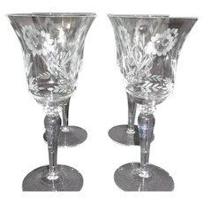 Set of 4 Etched Stemmed Wine Glasses