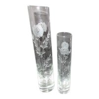 Pair of Clear Glass Etched Bud Vases