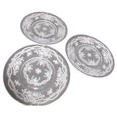 "3 Fostoria Romance Pattern 7 1/2"" Salad/Dessert Plates"