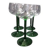 Set of 5 Green Stemmed Port Goblets