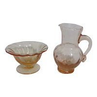 Miniature Set Blown Glass Washstand Pitcher and Bowl