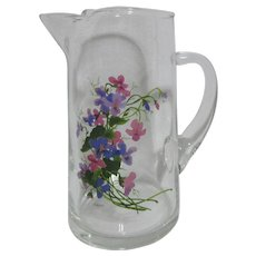 Blown Clear Glass Pitcher Signed Painted