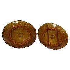 Pair of Tiara Amber Sandwich Pattern Glass Plates