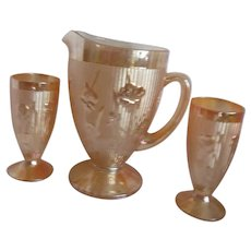 Jeannette Floragold Iridescent  Pitcher with 2 Glasses