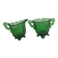 Green Glass Footed Cream and Sugar Set from 1940's