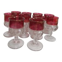 Set of 10 King Crown Ruby Red Flash Water Goblets