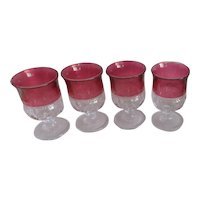 Set of 4 King Crown Thumb Print Wine Goblets with Red Ruby Flash Top Band