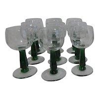 Set of 9 Bryce Holiday Green Stemmed Wine Goblets