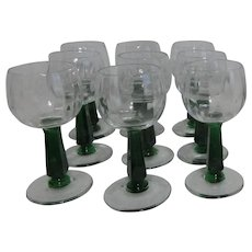 Set of 9 Bryce Holiday Green Stemmed Wine Goblets