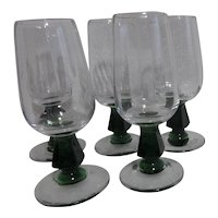 Set of 4 Bryce Holiday Green Stemmed Small Goblets
