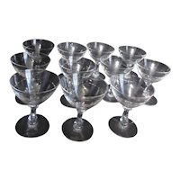 Set of 11 Fostoria Nosegay Champagne Goblets or Tall Sherbet Servers