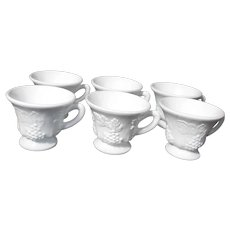 Set of 6 Milk Glass Punch Cups Grapevine Pattern