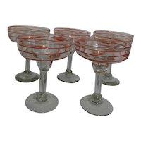 Set of 5 Blown Art Glass Margarita Cocktail Goblets Clear with Orange Stripe