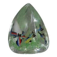 Large Triangle Glass Paper Weight with Fish and Seaweed