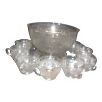 Indiana Glass Tiara Clear Sandwich Pattern Punch Bowl, Base & 12 cups