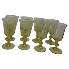 """Lenox """"Antique Yellow"""" Pattern Water Goblets Set of 7"""
