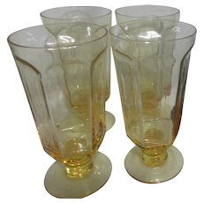 """Lenox """"Antique Yellow"""" Pattern Set of 4 Iced Tea Goblets"""