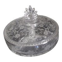 New Martinsville Viking Glass Prelude Pattern 3 Section Candy Server