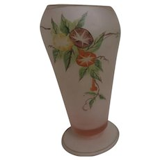 Satin Pink Glass Vase with Handcrafted Gold Highlights and Morning Glories