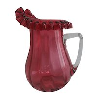 Hand Blown Cranberry Glass Water Pitcher with Ruffled Rim