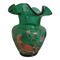 Fenton Green Vase with Signed Hand Painted Quail