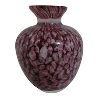 Small Art Glass Vase Lavender & White