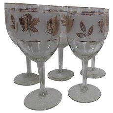 Set of 5 Wine Goblets with Gold Leaf Design