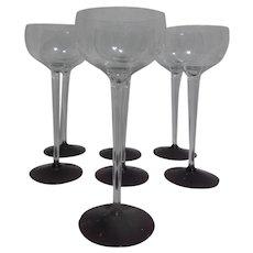 Set of 7 Tall Stemmed Wine Goblets with Lavender Base