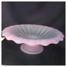 Vintage Frosted Pink Footed Bowl
