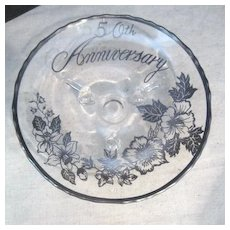 Vintage 50th Anniversary Silver Overlay on Clear Glass Footed Dish